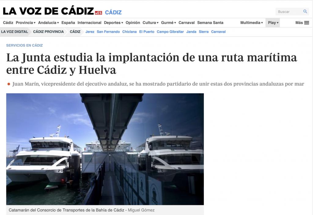 La Junta estudia la implantación de una ruta marítima entre Cádiz y Huelva